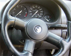 A car steering wheel
