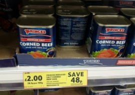 A tin of corned beef at a Tesco supermarket
