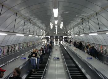 Escalators on the London Underground - inaccessible to large dogs