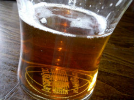A pint of beer in a pub